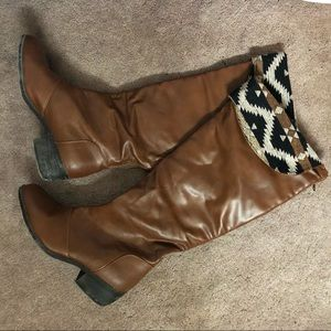 Francesca's Tall Leather Cuff Boots, Size 10